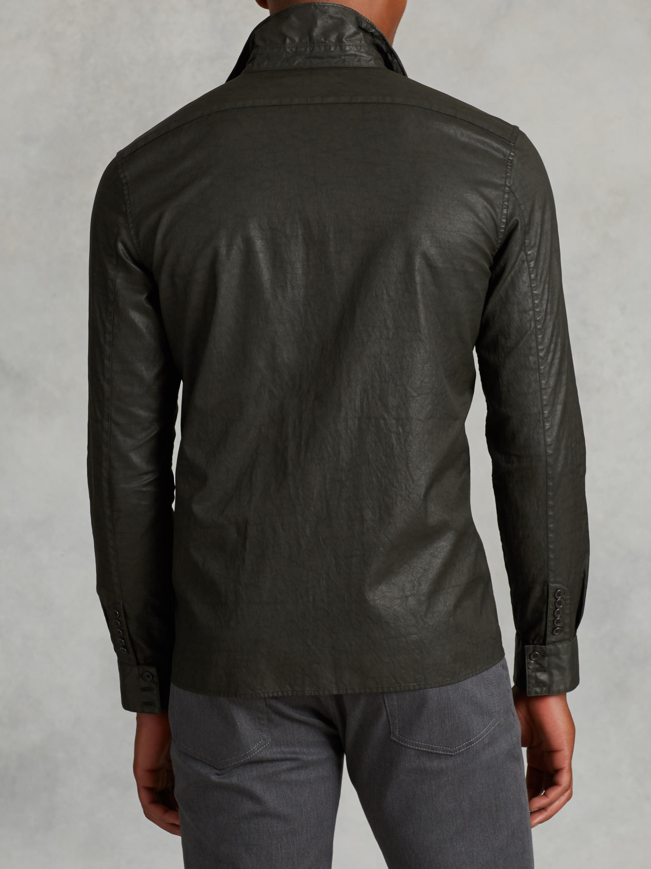 77d4a56241839 John Varvatos Resin Coated Cotton Shirt in Green for Men - Lyst