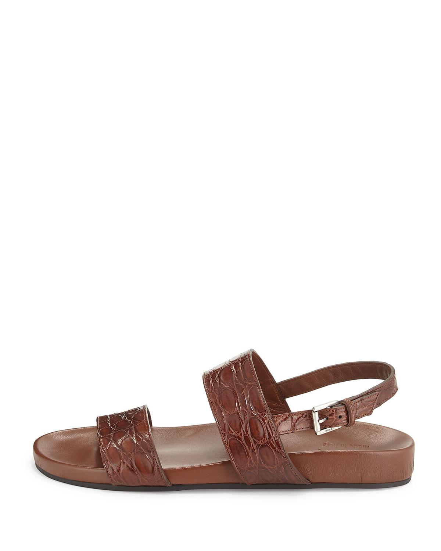 e8f17c277e0 Lyst - Gucci Crocodile Two-Strap Sandal in Brown for Men