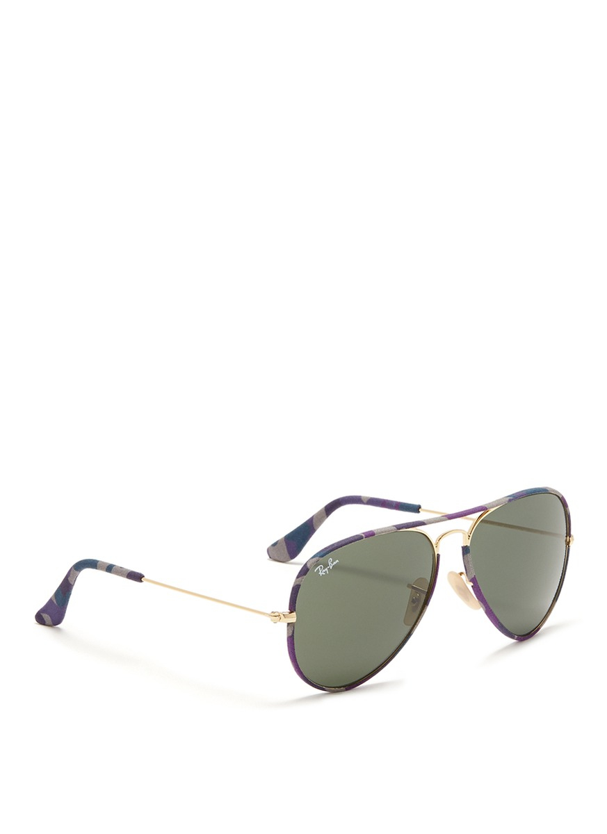 Ray Ban Wireframe Glasses : Ray-ban aviator Camouflage Fabric Rim Wire Sunglasses in ...