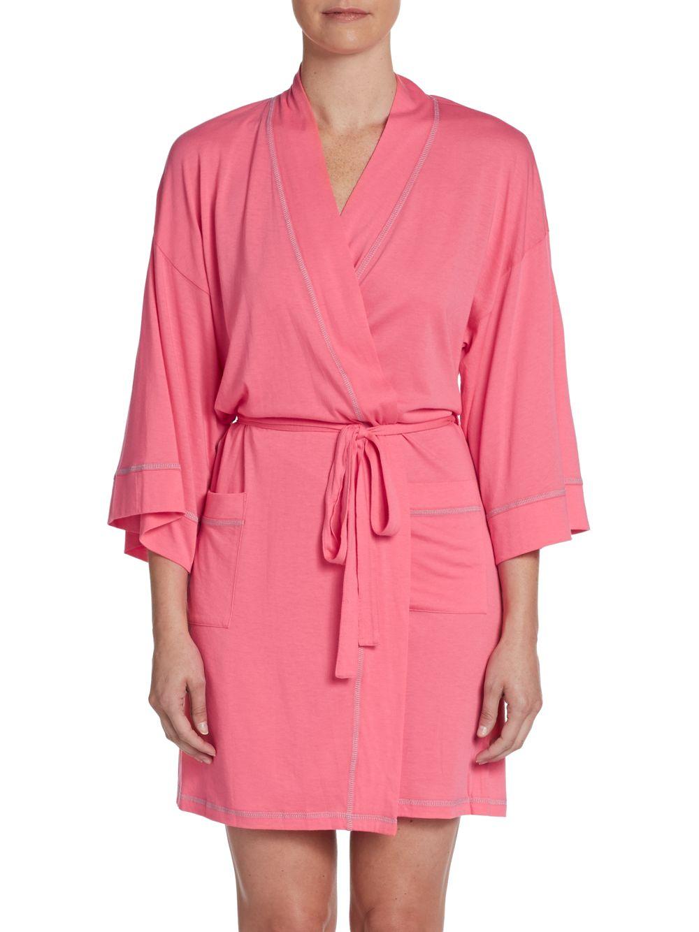 84abe1a496 Lyst - Josie Natori Jersey Knit Wrap Robe in Pink
