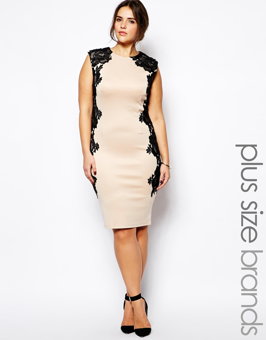 cc6ee26f295f AX Paris Plus Size Bodycon Dress With Lace Panels in Natural - Lyst