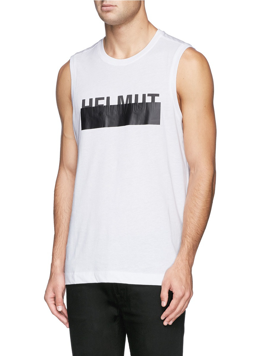 853eedb68b69fe Lyst - Helmut Lang Logo Band Print Tank Top in White for Men