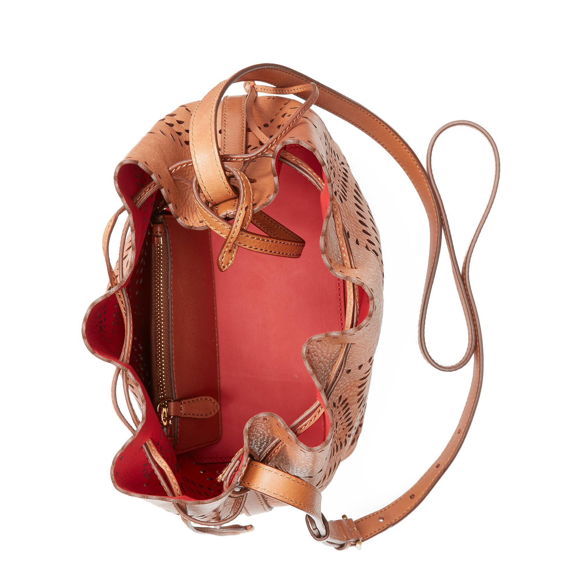 c59ac0739e Lyst - Polo Ralph Lauren Laser-cut Leather Bucket Bag