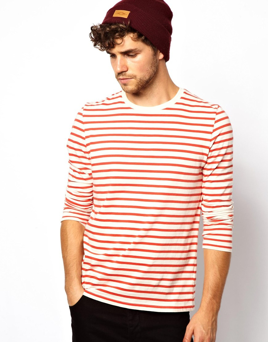 Asos Stripe Long Sleeve Tshirt in Orange for Men | Lyst