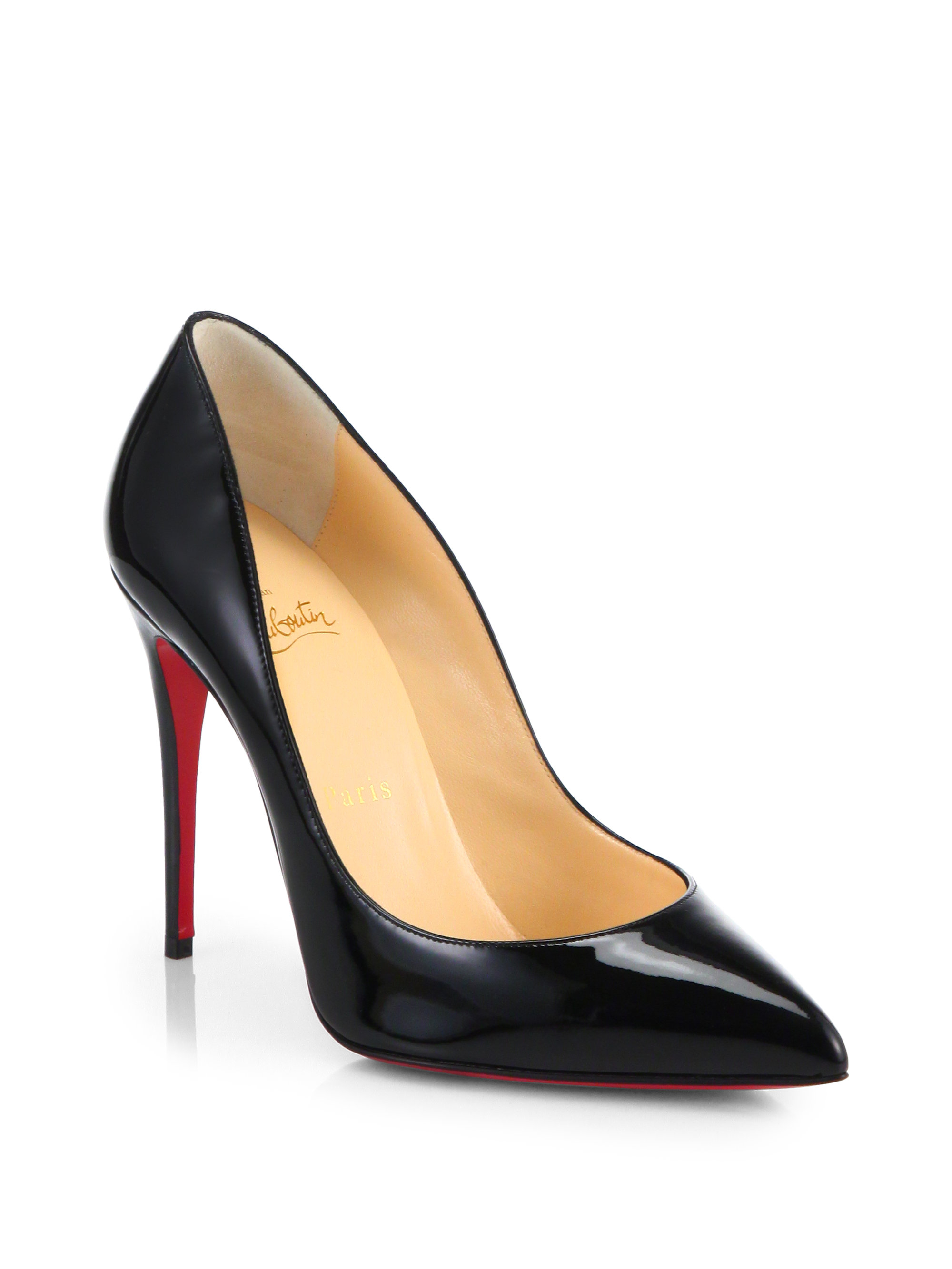 christian louboutin patent leather t-strap pumps