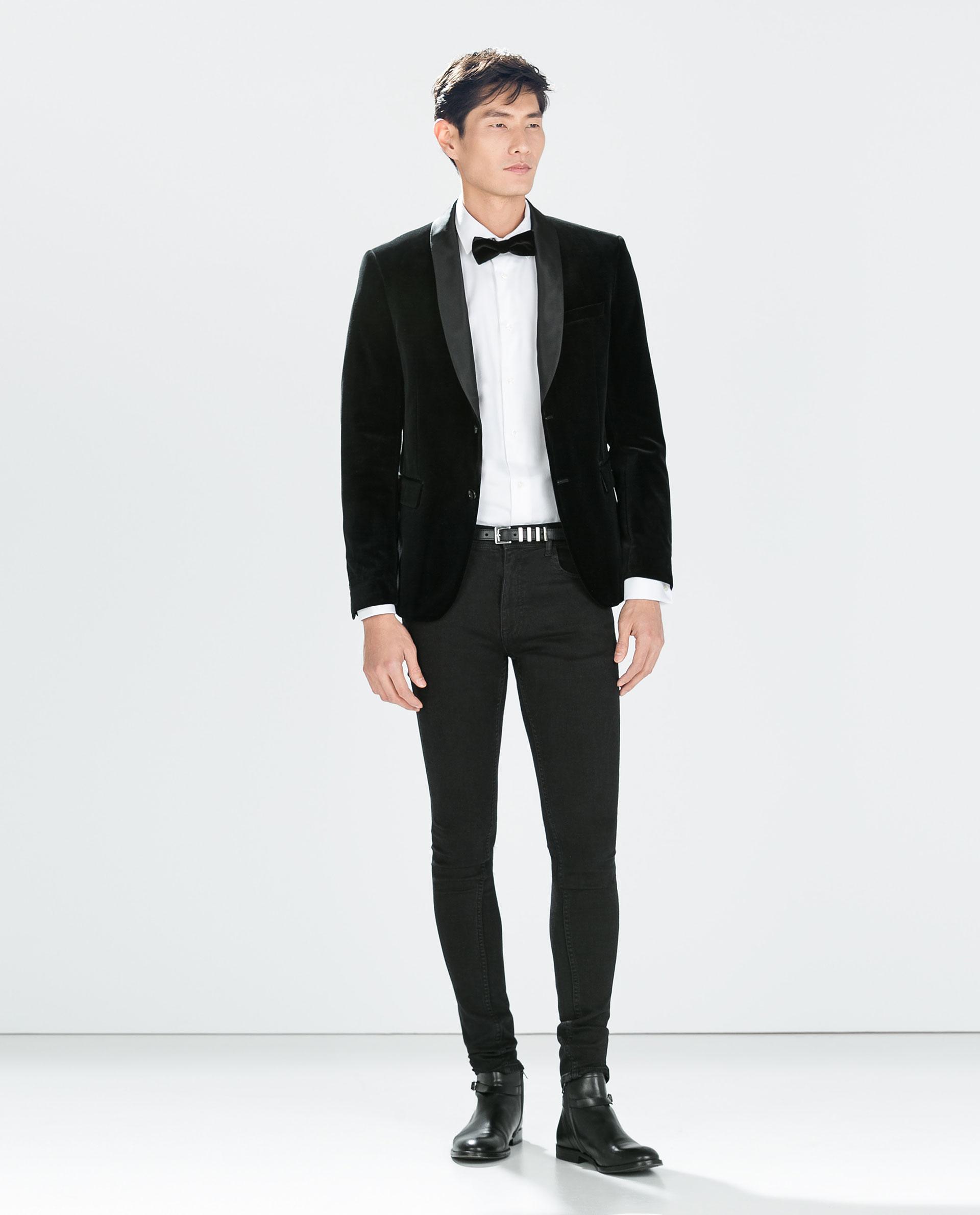 Mens Black Velvet Blazer | Tulips Clothing
