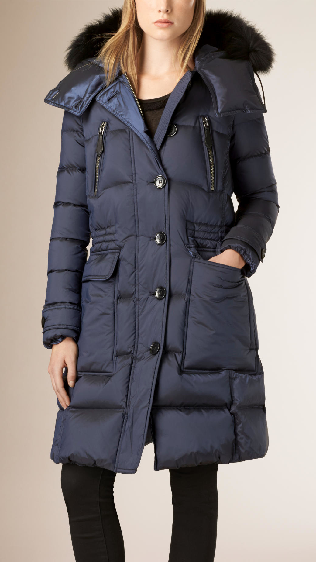 Discount Factory Outlet Burberry Detachable Hood Fur Trim Down-Filled Puffer Coat Clearance Enjoy For Cheap P47gPeP
