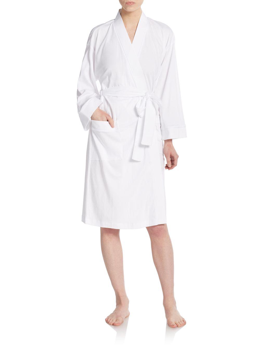 47872ffcb0 Lyst - Cottonista Pima Cotton Jersey Robe in White