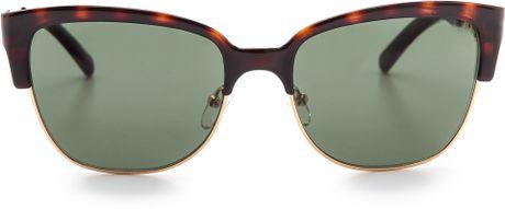 Tory Burch Rimless Bottom Sunglasses - Ivory Gold/Brown ...
