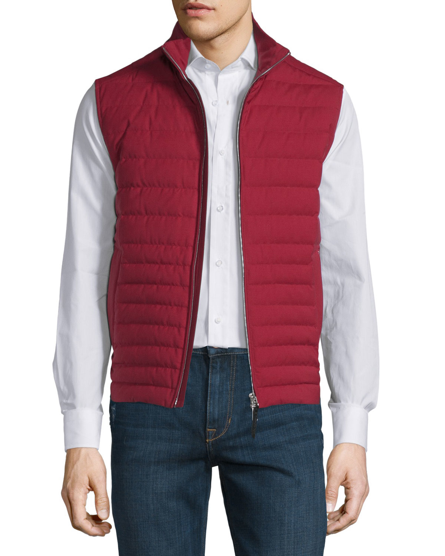 Ermenegildo Zegna Trofeo Wool Elements Quilted Vest In Red