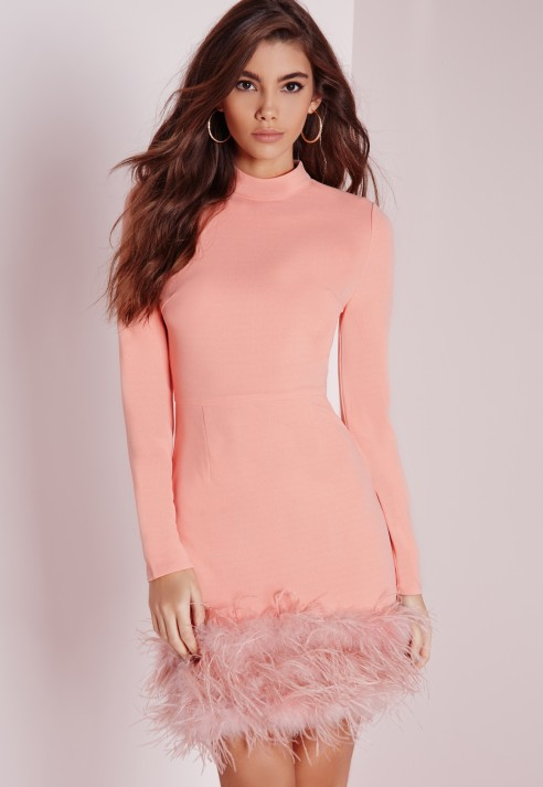 Missguided High Neck Feather Trim Bodycon Dress Rose Pink