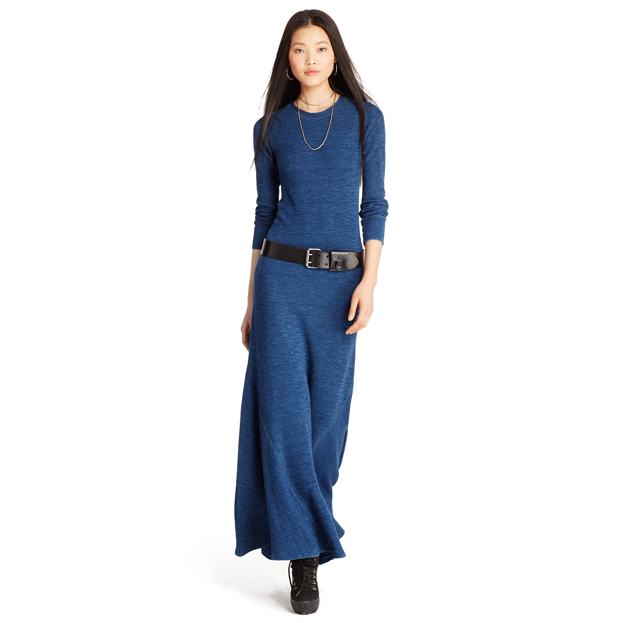 Waffle-knit cotton maxi dress ralph lauren