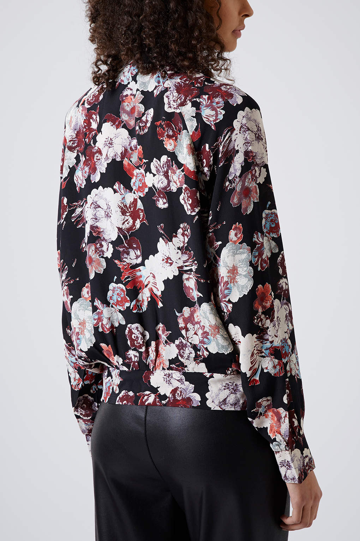 Lyst Topshop Blurred Flower Bomber Jacket In Black