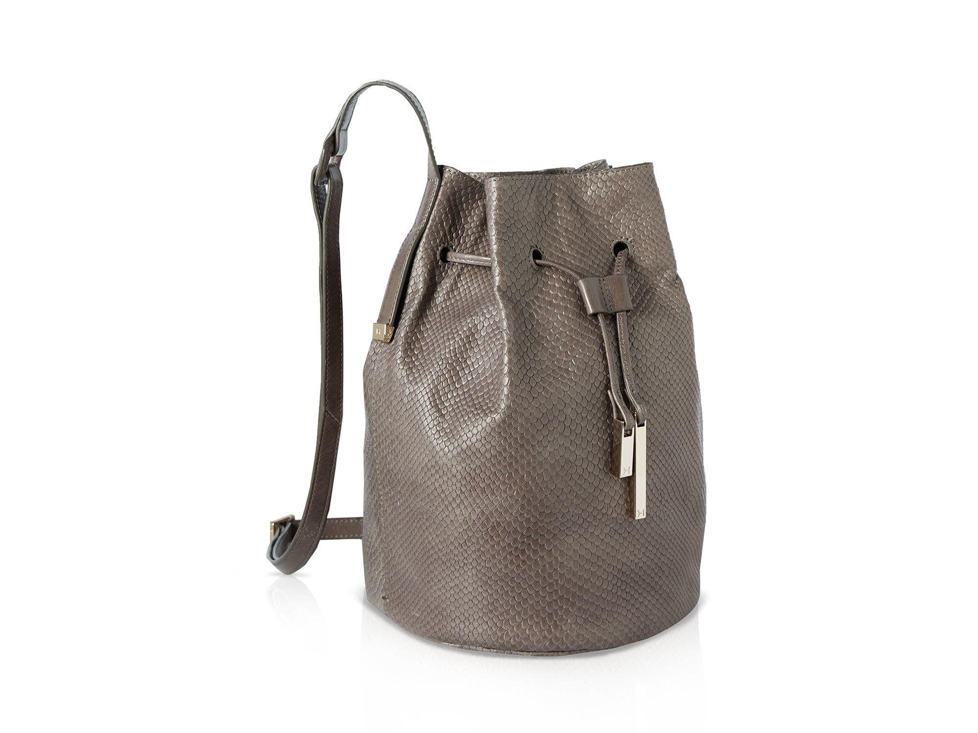 abbe0958ee15 Lyst - Halston City Casual Embossed Lizard Bucket Bag in Gray