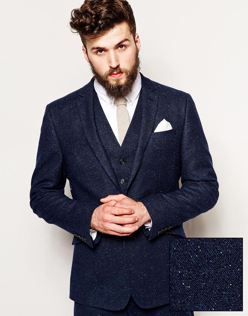 Asos Slim Fit Suit Jacket In Fleck in Blue for Men | Lyst