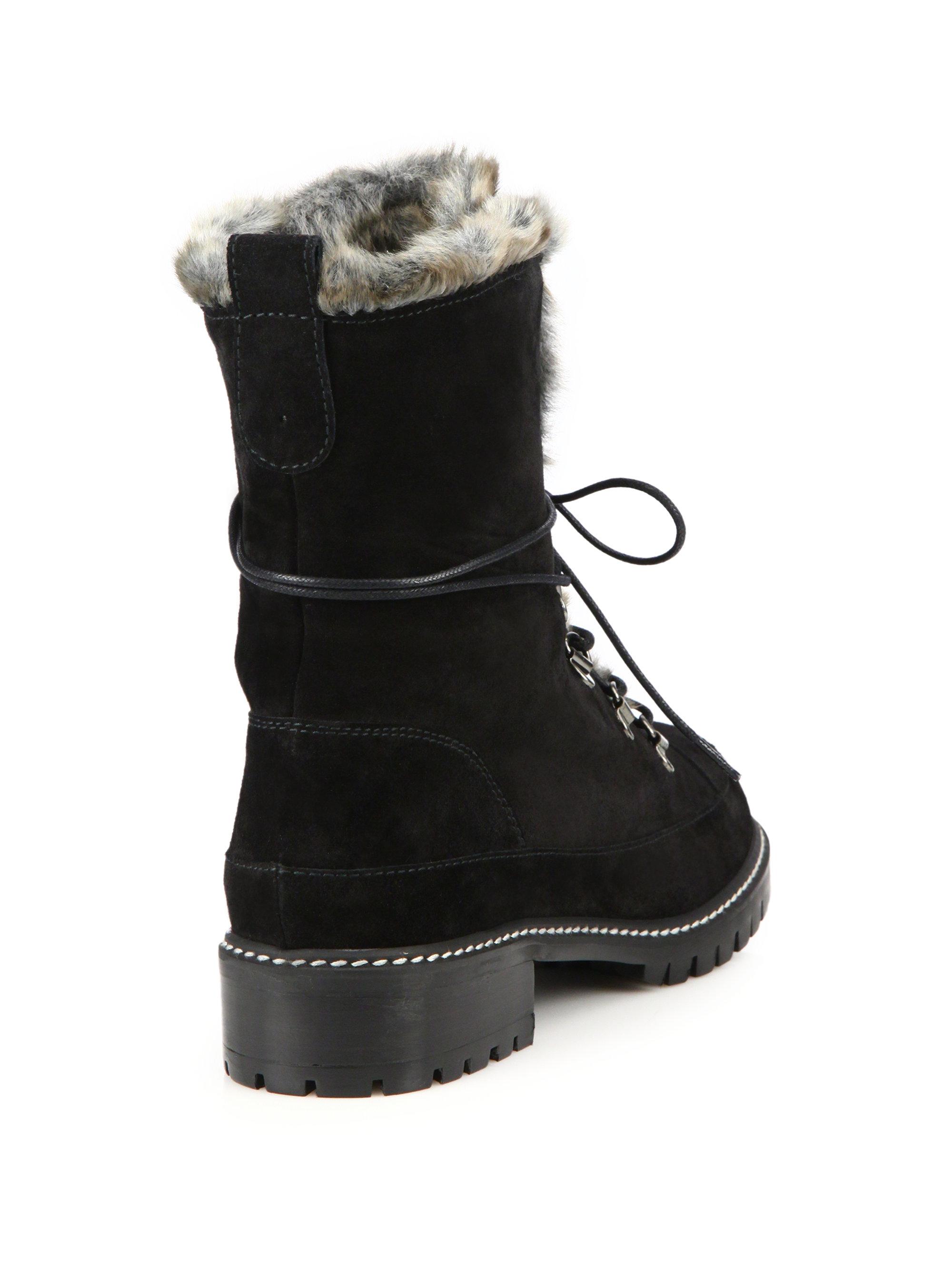 Lyst Stuart Weitzman Luge Suede Amp Faux Fur Lace Up Boots
