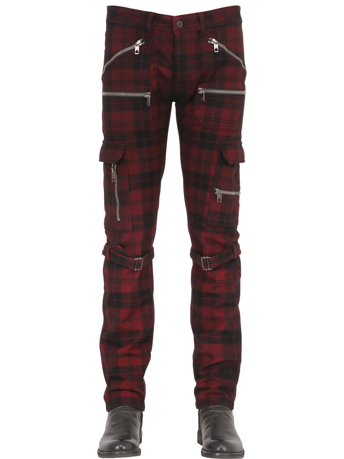 Diesel black gold 17cm Plaid Wool Cargo Pants in Red for Men | Lyst