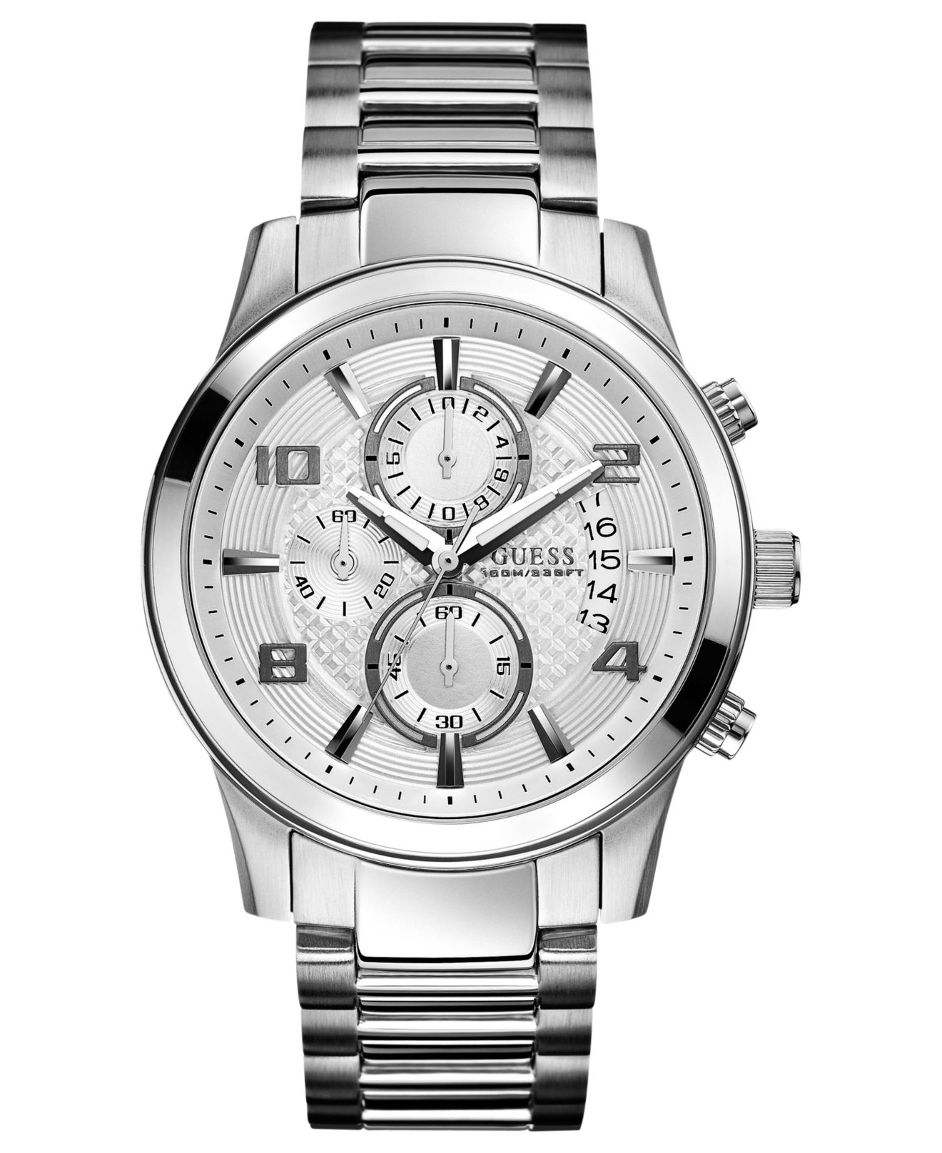 Guess watch men 39 s chronograph stainless steel bracelet 44mm u0075g3 in gray for men lyst for Watches guess