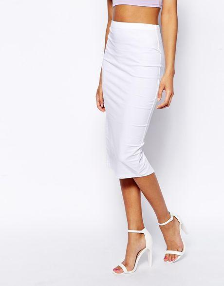 asos midi pencil skirt in jersey in white lyst