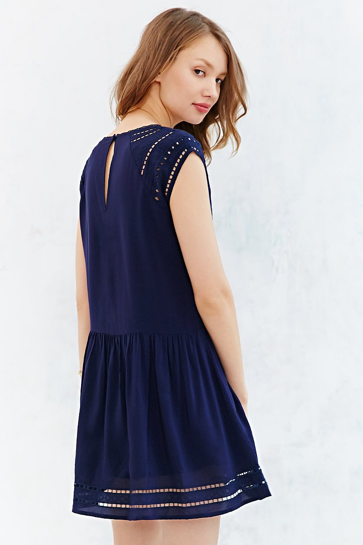 Ecote Eyelet Dress in Blue | Lyst