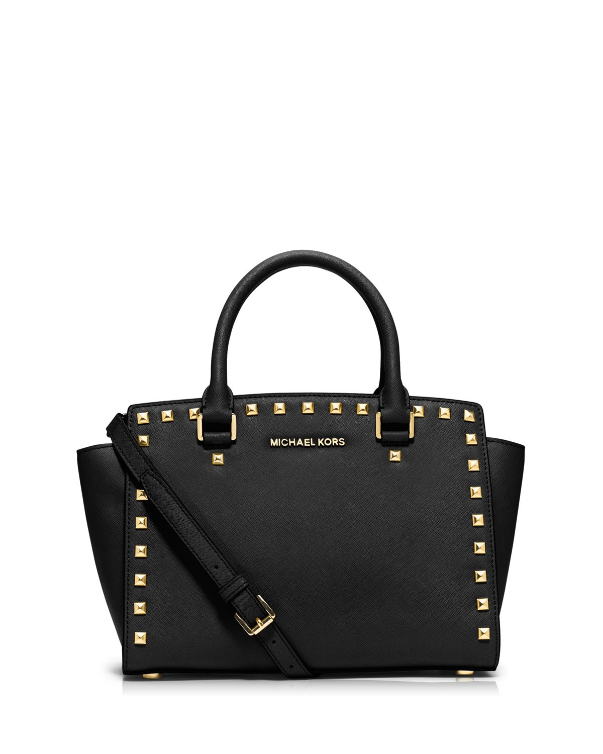 michael michael kors satchel selma stud medium in pink lyst. Black Bedroom Furniture Sets. Home Design Ideas