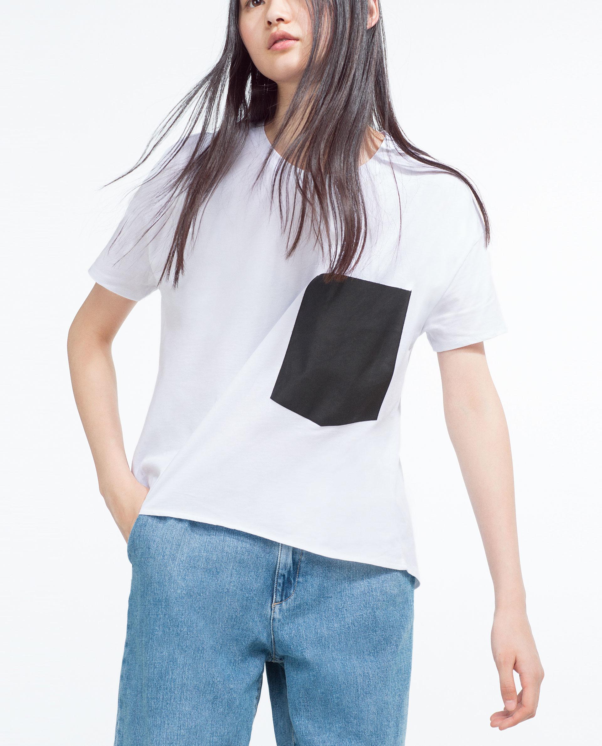 Zara t shirt with pocket in white lyst for Zara black t shirt dress
