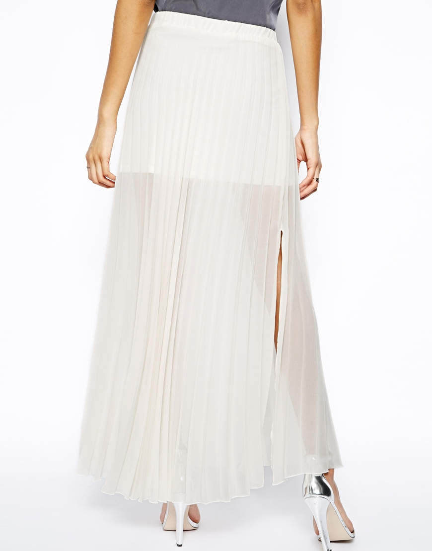 zack pleated maxi skirt with thigh splits in beige
