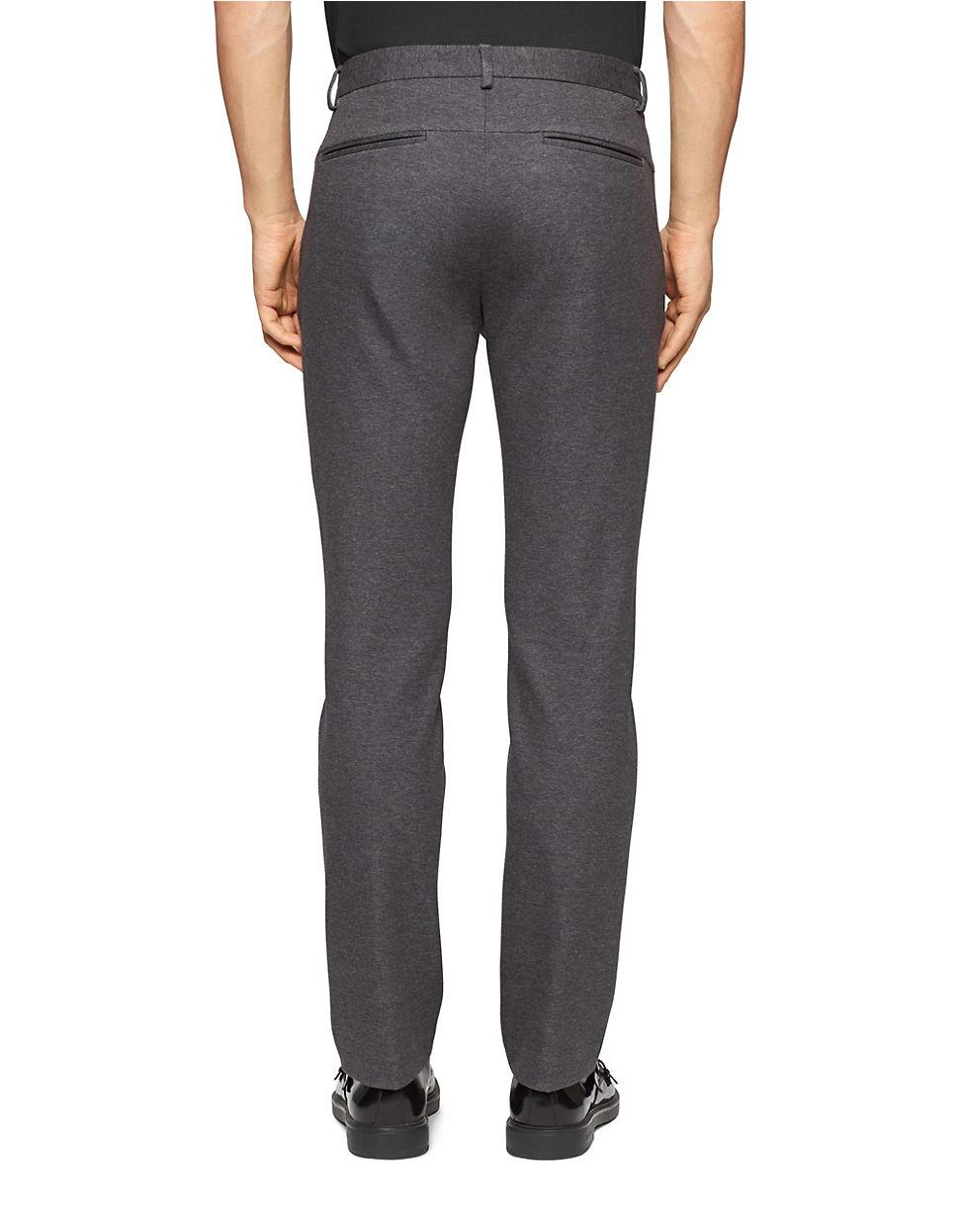 Calvin klein Slim Fit Knit Dress Pants in Gray for Men | Lyst