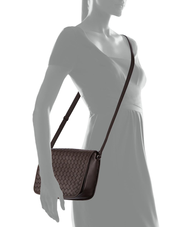 77895d60e2167 Lyst - Bottega Veneta Small Woven Flap Crossbody Bag in Brown