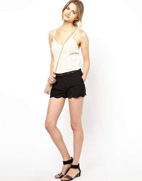 Scallop Hem Shorts Athe Shorts With Scalloped