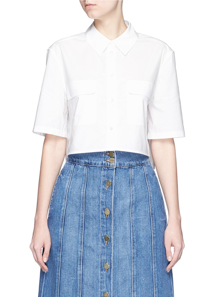 Lyst Equipment Cropped Cotton Poplin Shirt In White