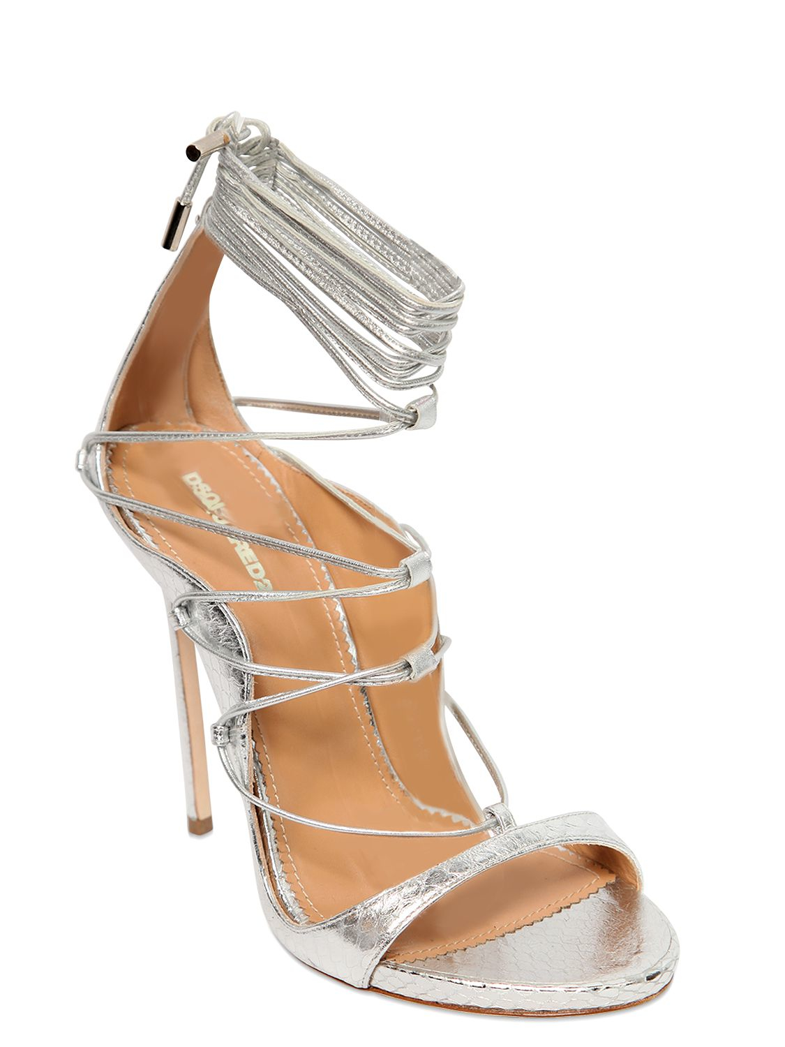059aa78bb Lyst - DSquared² 120mm Elaphe Snakeskin Lace-up Sandals in Metallic