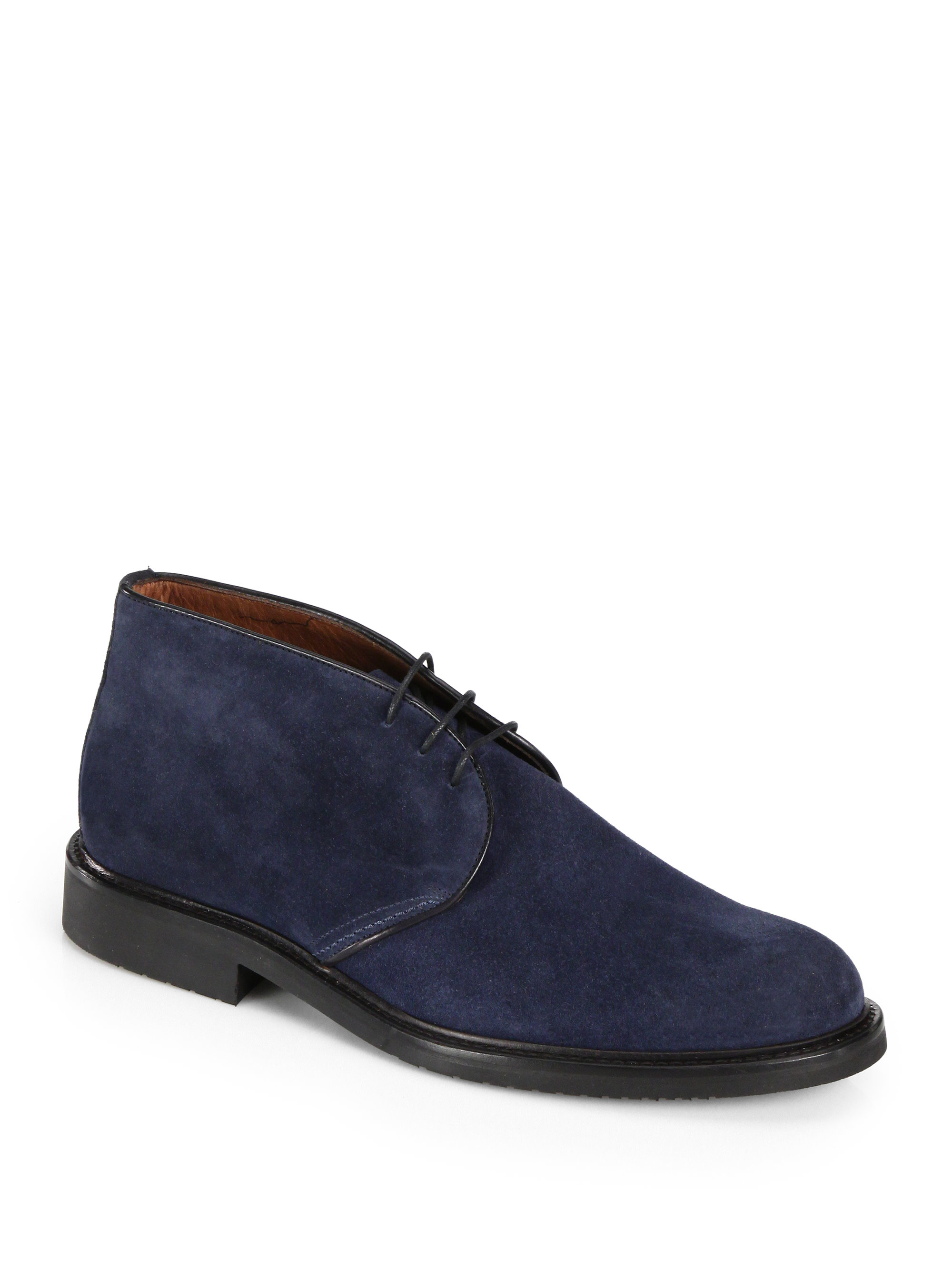 saks fifth avenue collection suede chukka boots in blue