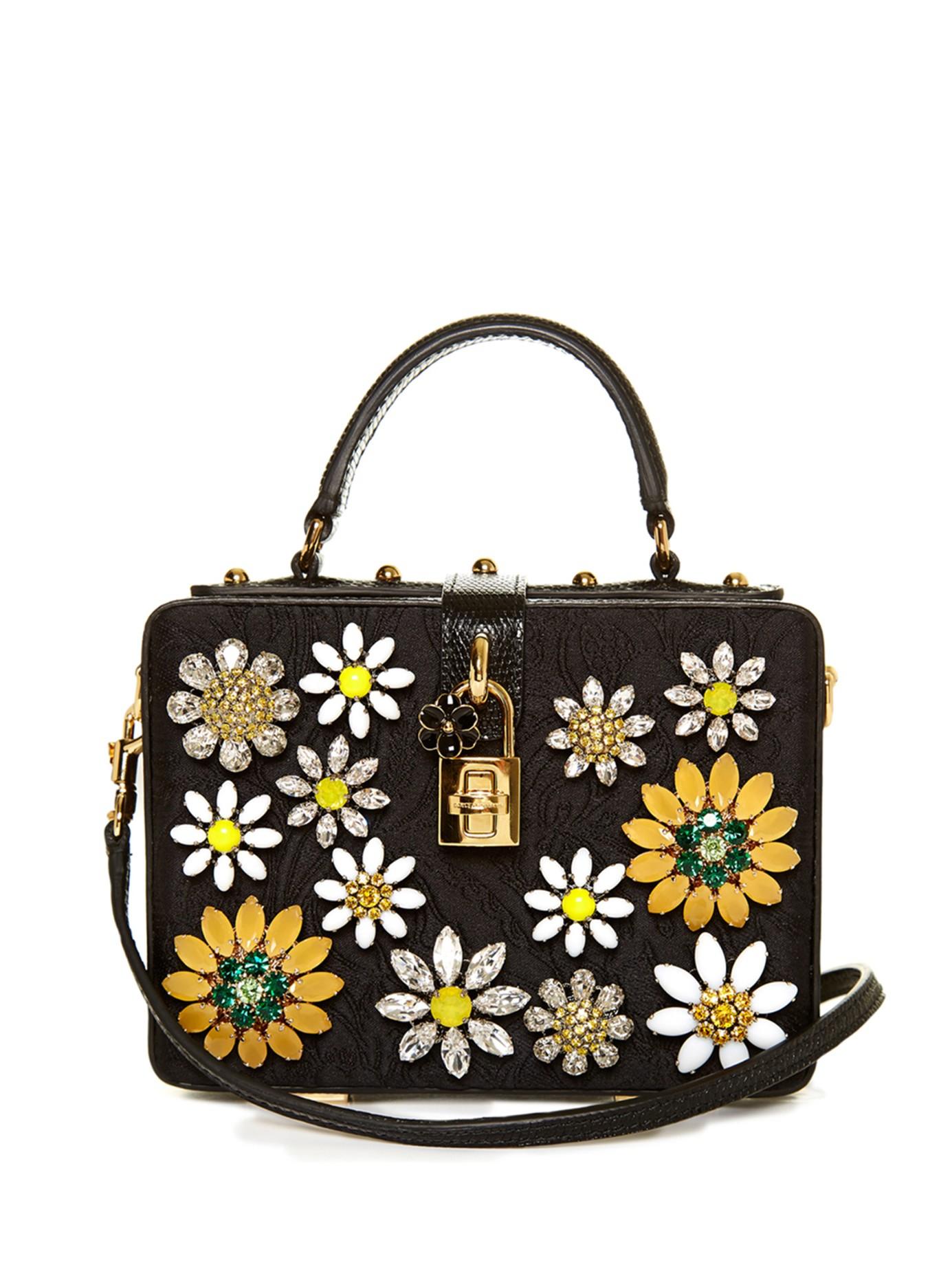 ec6de868c0f4 Lyst - Dolce   Gabbana Dolce Flower-embellished Brocade Box Bag in Black