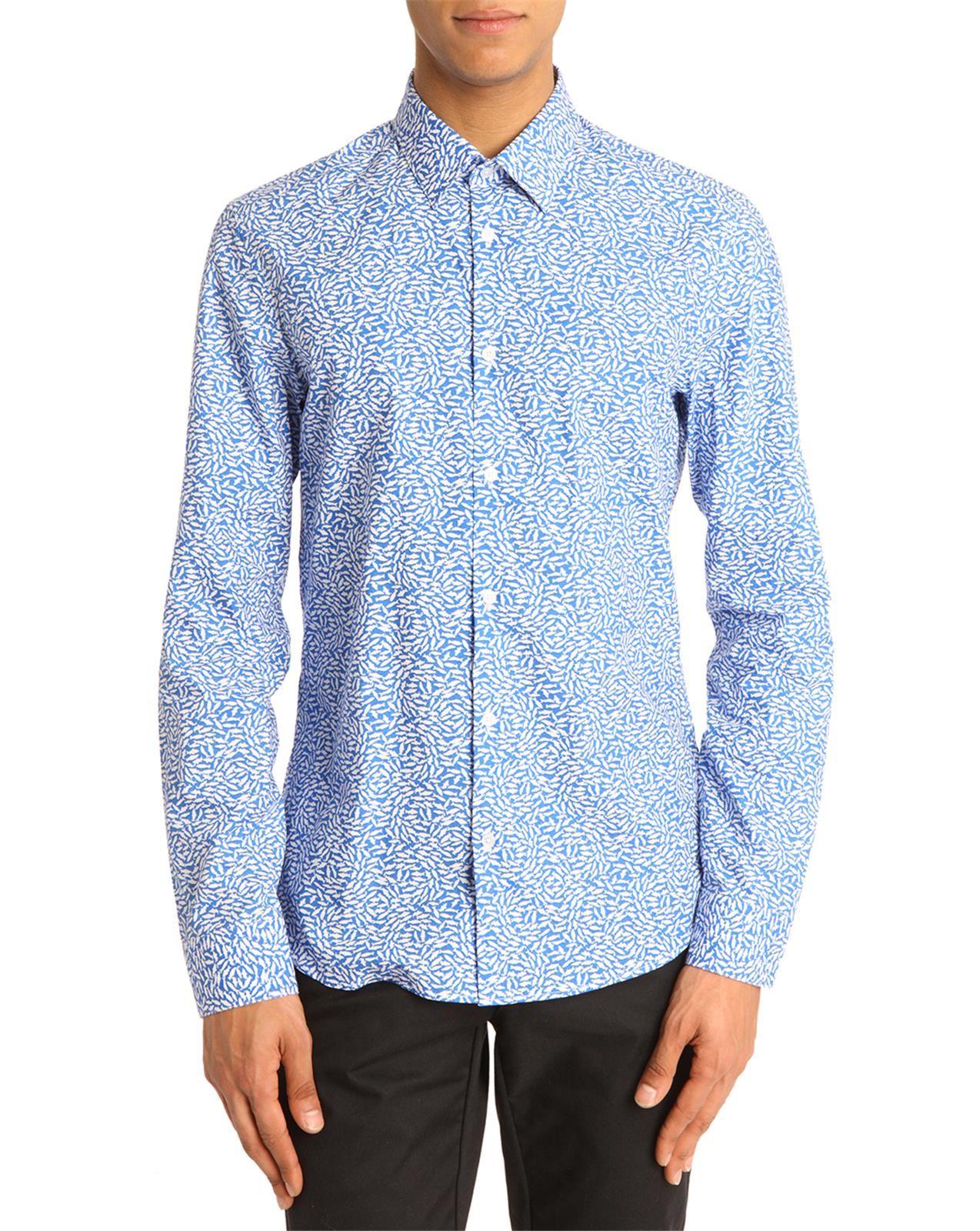 Kenzo micro fish blue print shirt in blue for men lyst for Fish print shirt