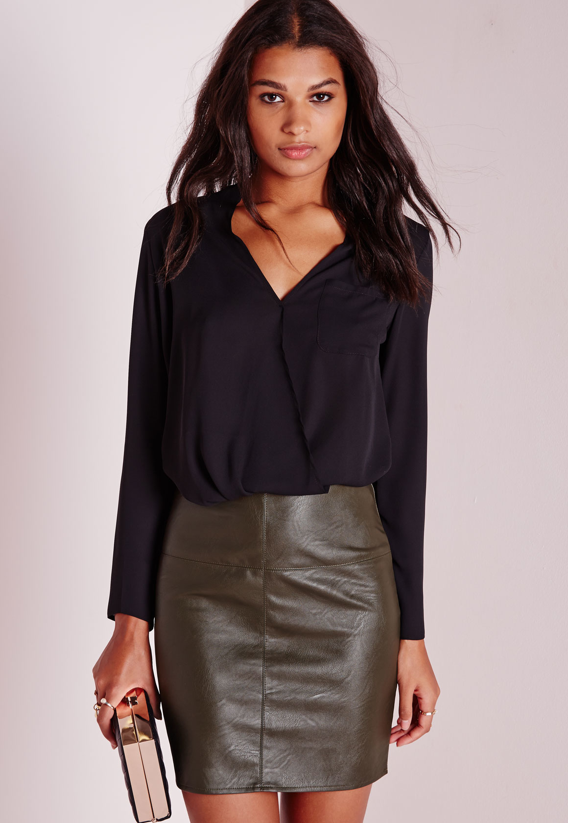Missguided Tall Faux Leather Mini Skirt Khaki in Natural | Lyst