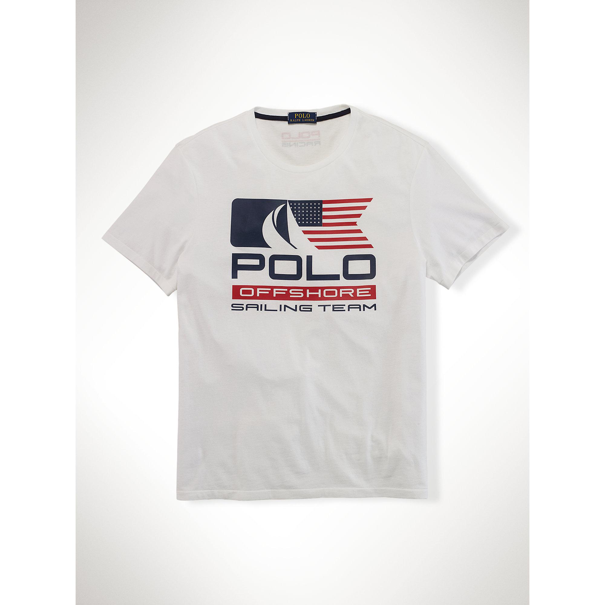 Polo ralph lauren sailing team jersey t shirt in white for Ralph lauren polo jersey shirt