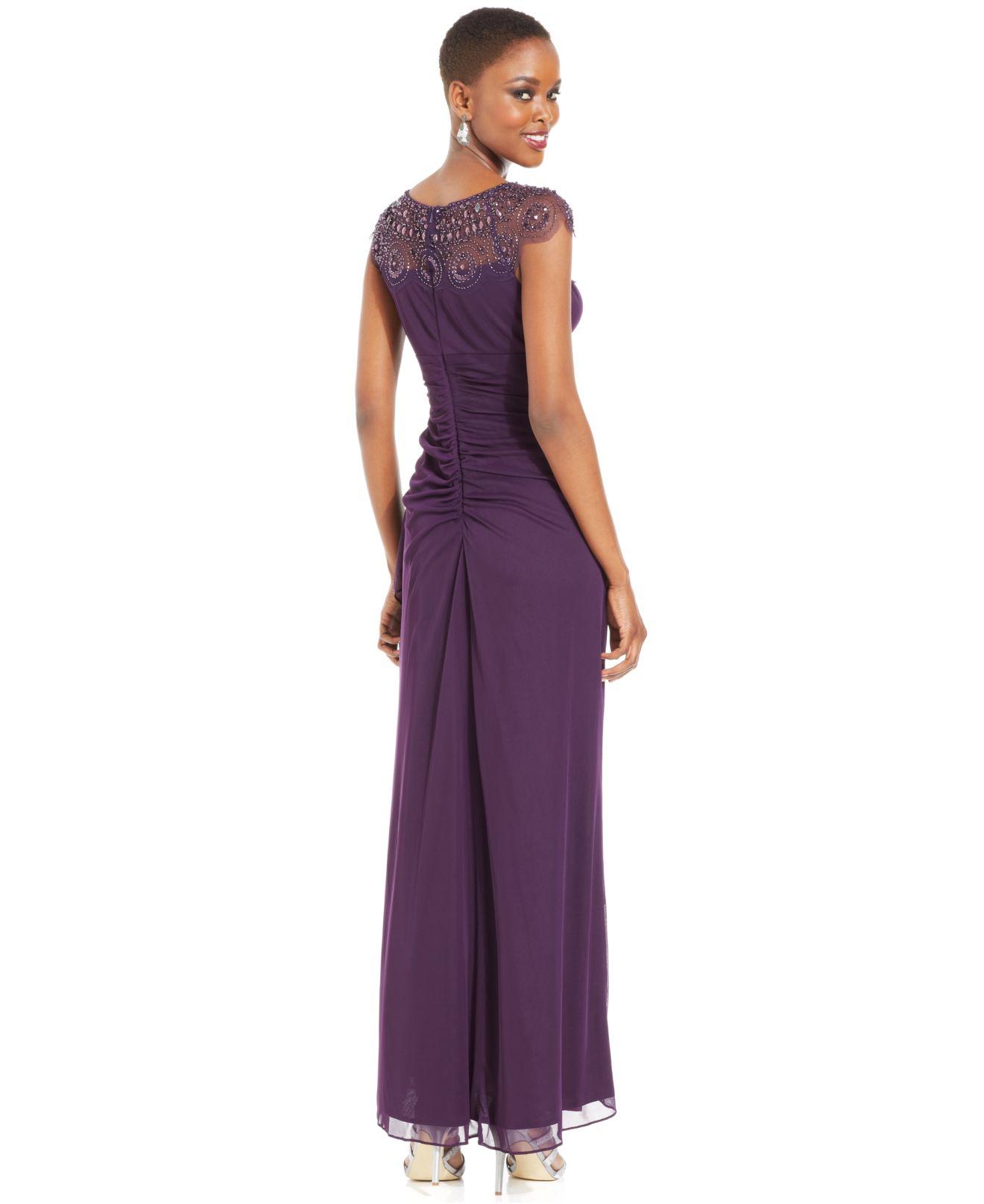 xscape cap sleeve illusion beaded dress | ivo hoogveld