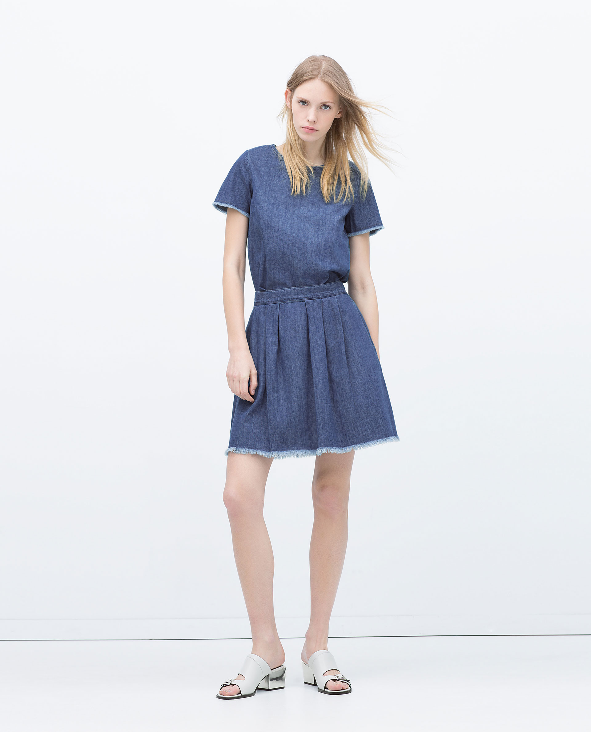 zara denim skirt with frayed hem in blue mid blue lyst