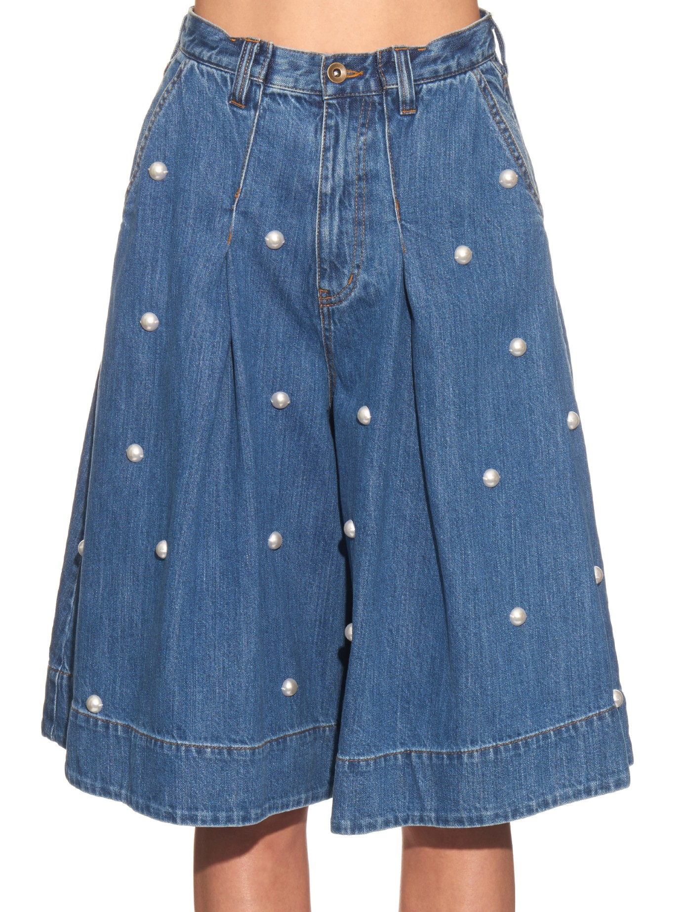 Lyst Muveil Embellished Denim Culottes In Blue