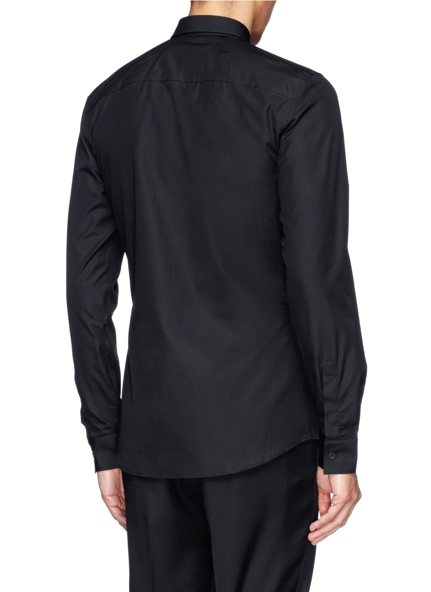Givenchy metallic star contrast collar tip shirt in black for Givenchy 5 star shirt
