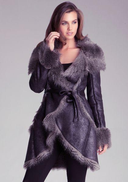 Bebe Faux Fur Long Jacket In Brown Lyst