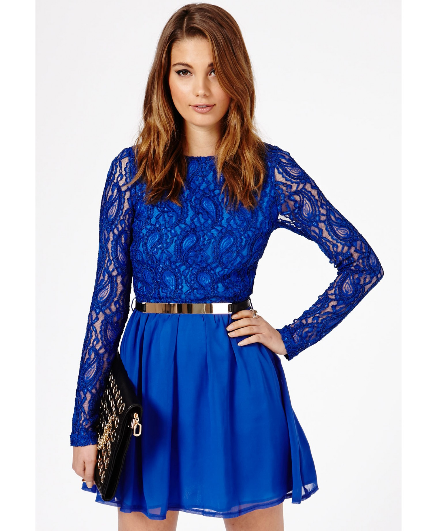 Missguided Minelli Contrast Lace Skater Dress in Cobalt Blue in ...