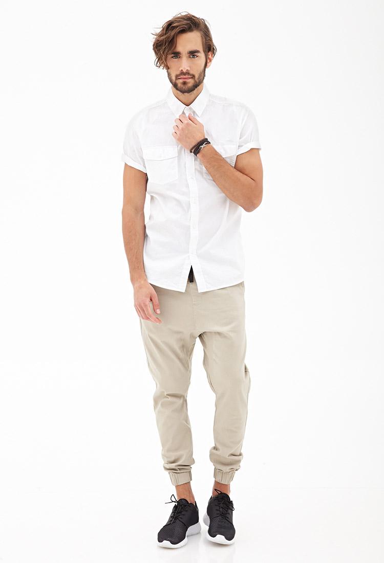 Lyst Forever 21 Short Sleeved Collared Shirt In White For Men