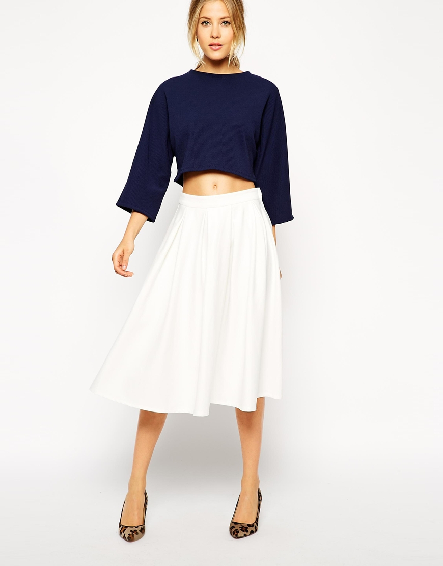 Asos Midi Skirt In Ponte With Pleats in White | Lyst