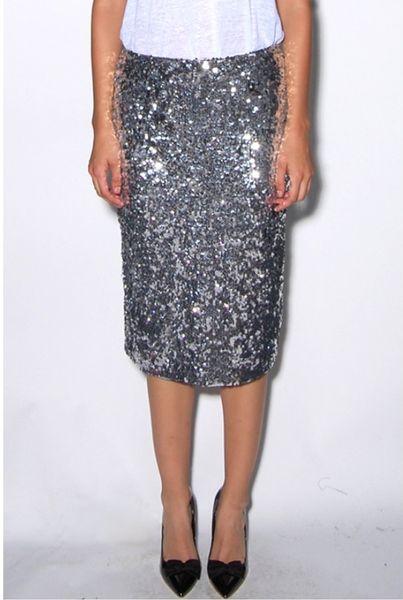 by malene birger pollio sequin pencil skirt in silver lyst