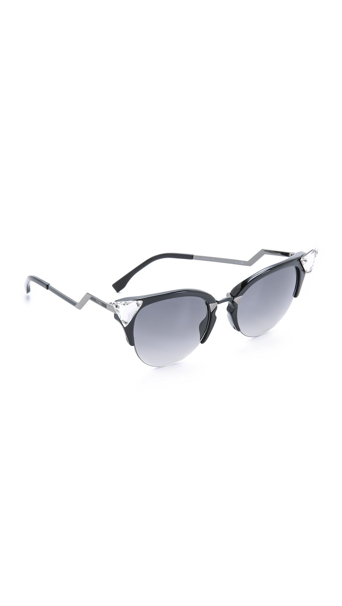 d8215731634 Lyst - Fendi Iridia Crystal Corner Sunglasses in Black