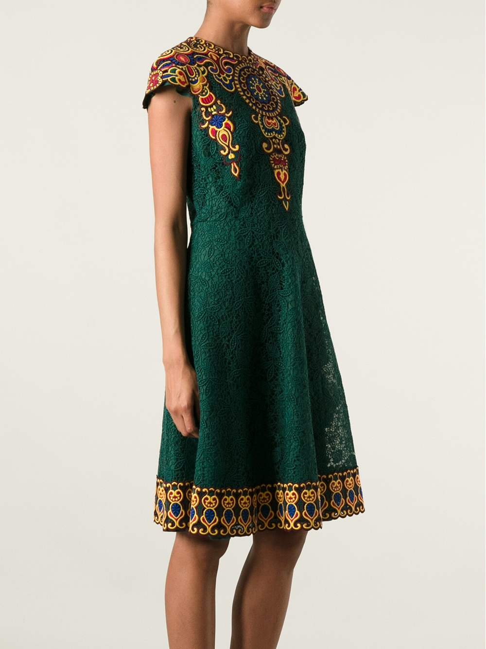 Valentino Embroidered Floral Lace Dress In Green Lyst
