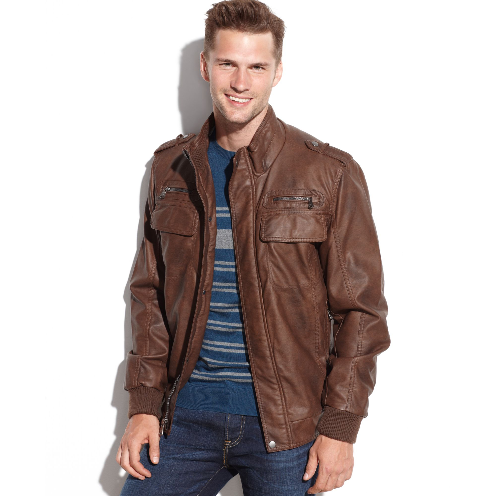 calvin klein faux leather bomber jacket in brown for men lyst