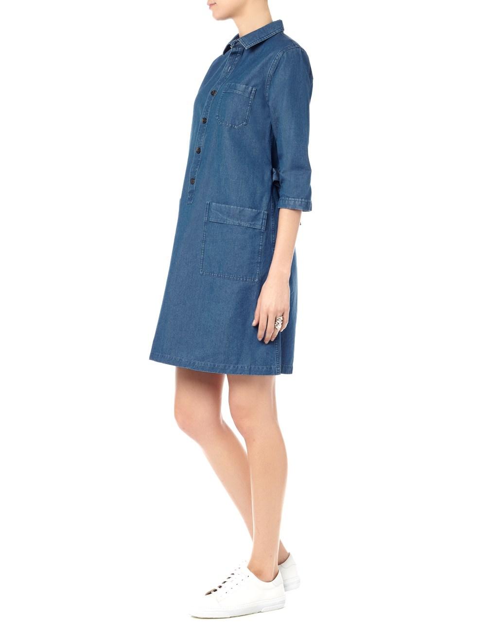 a p c blue denim belted nancy dress in blue lyst